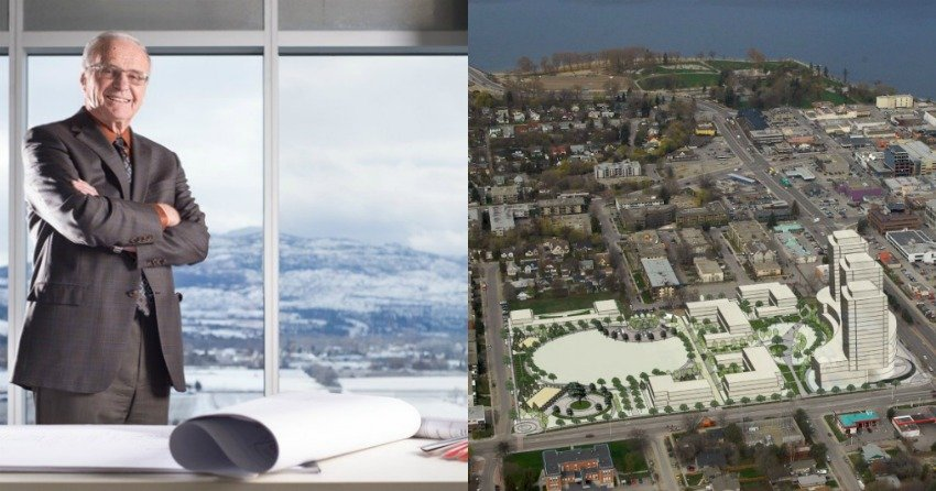 </who> Al Stober (Left) believes Kelowna is experiencing a boom like never before and developments like Central Green (Right) will help accommodate the city's demand for housing.