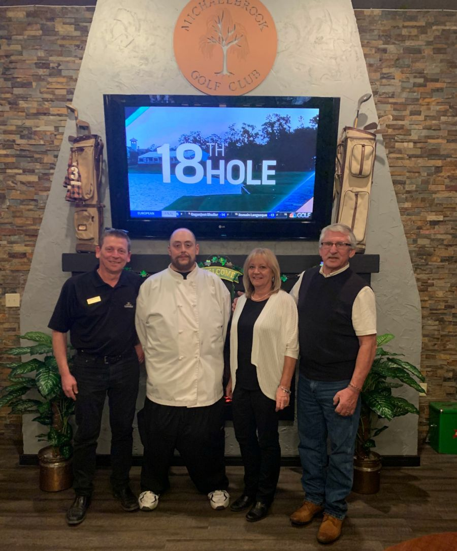 <who>Photo Credit: Contributed</who>Brook Bar and Grill at Michaelbrook Golf Club (L to R) GM Andrew Neville, Chef Sandy Spencer, Betty Dewar and owner Tom Stanbrook.