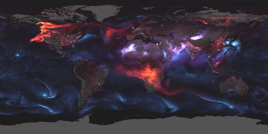 Wildfires and volcanic ash glow in Nasa's aerosol Earth map
