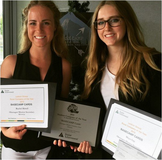 <who> Photo Credit: Basecamp Card Co. </who> Birrell and Gay won top prize in Kelowna.