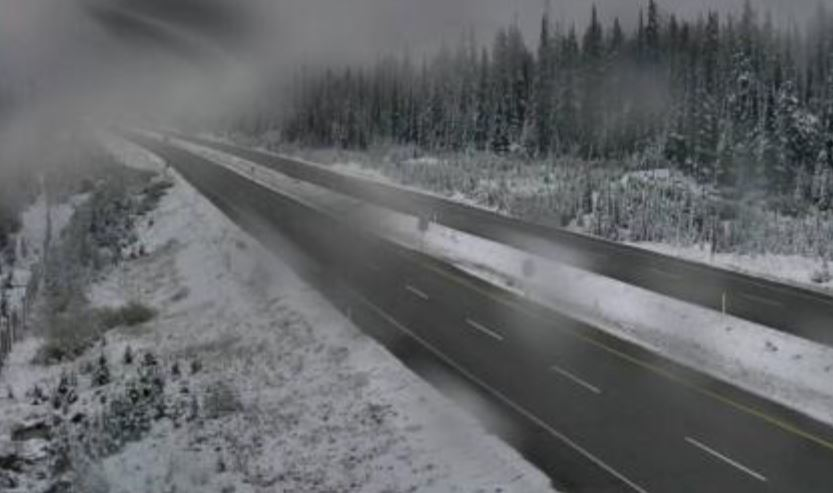 <who>Photo Credit: DriveBC</who>The Pennask Summit as of 7:10 a.m. today.