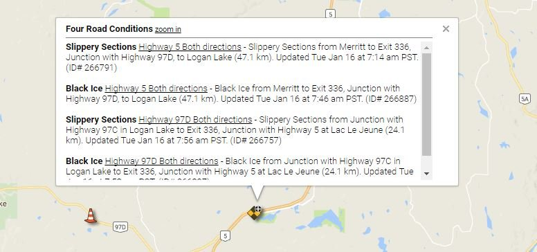 DriveBC showing poor conditions on the Coquihalla Highway