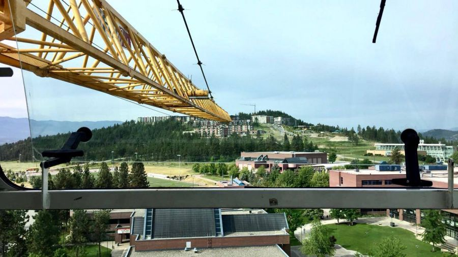 <who> Photo Credit: Dakota Dulyk. </who> A great view from Dakota Dulyk's office, which is a tower crane placed at the site of U-Two at the UBCO campus.