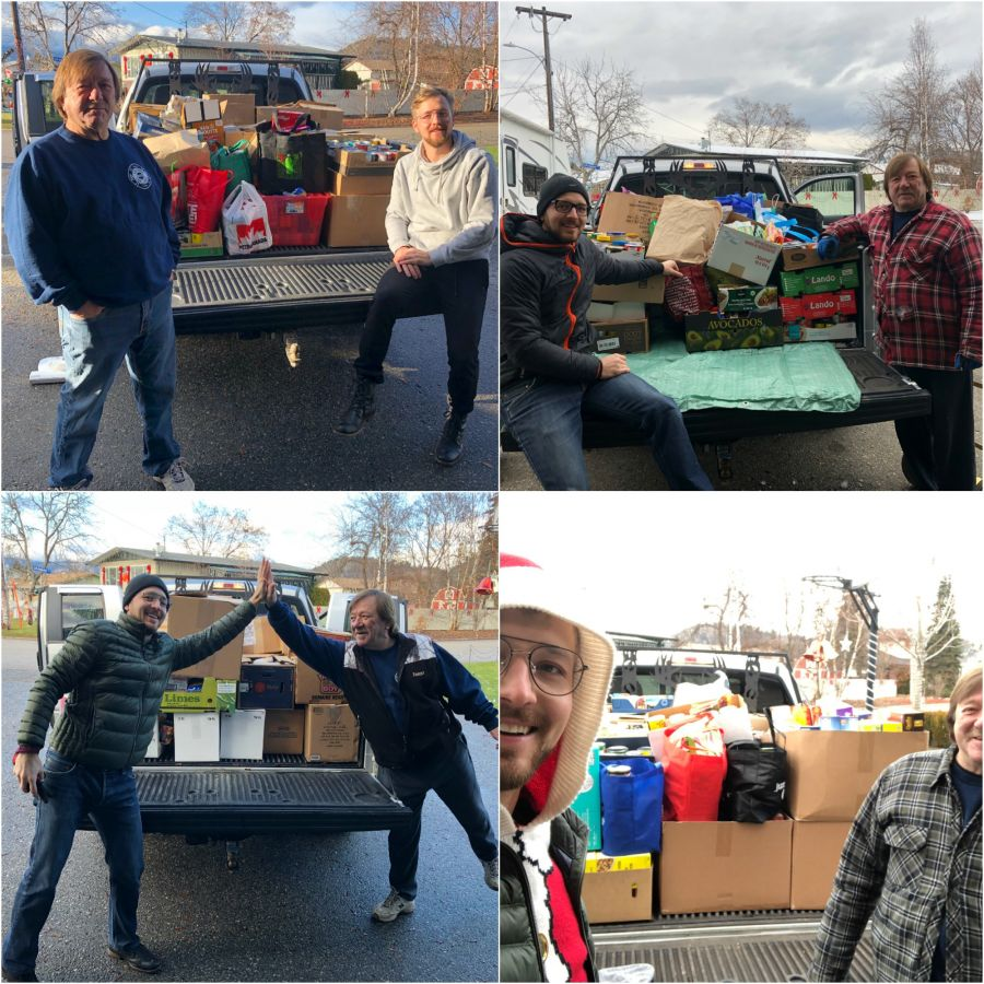 <who>Photo credit: Contributed<who>Damjan Madjar and John Sharhon welcome several truckloads of food donations to Candy Cane Lane.