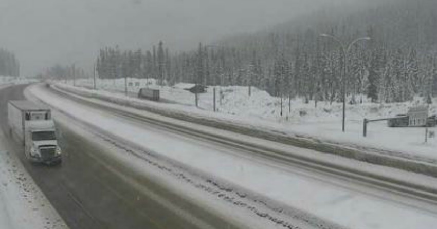 <who>Photo Credit: DriveBC</who>Hwy 5 northbound at Zopkios Rest Area, near the Coquihalla Summit looking north.