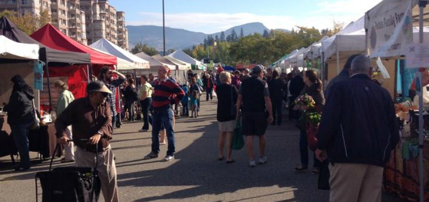 <who> Kelowna Farmers Market/ Facebook </who> The outdoor farmer's market in Kelowna.