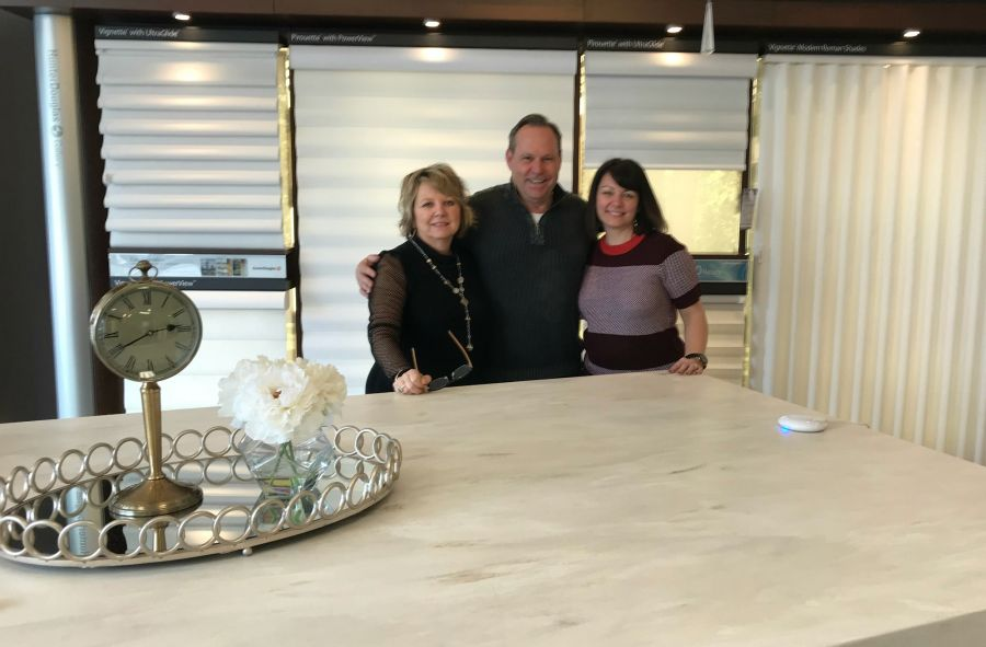 <who>Photo Credit: Normandeau Window Coverings</who>(L to R) Jan Farnham (designer), Rob Farnham (manager) and Eric McGeachy (designer)