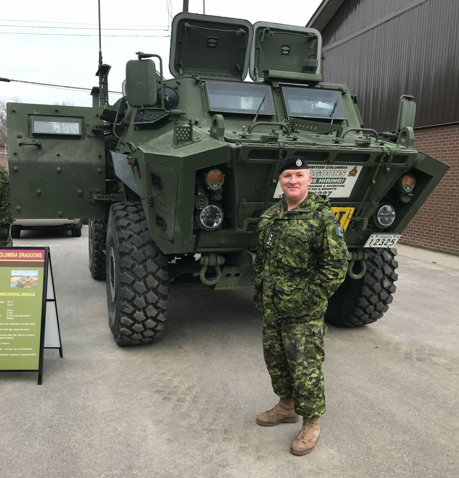 <who>Photo Credit: Contributed</who>Captain Jeff Daley - BCD Operation Officer in front of the new tactical armoured patrol vehicle.