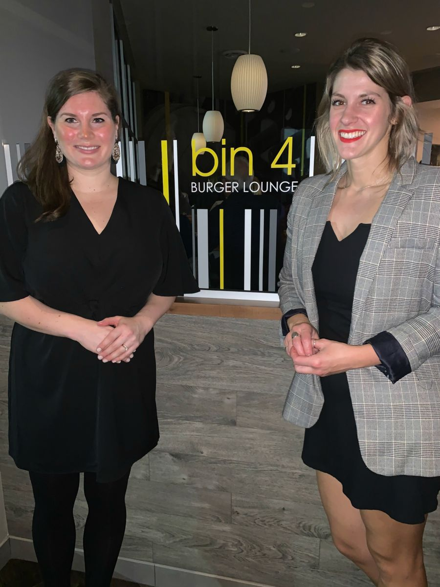 <who>Photo Credit: Contributed</who>Bin 4 Burger Lounge owner Sarah Blackmore (L) and GM Lehran Young