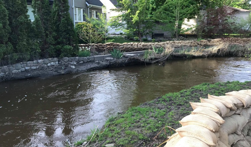 <who>Photo Credit: KelownaNow</who>Mill Creek at the Buckland Avenue on May 12, 2018.