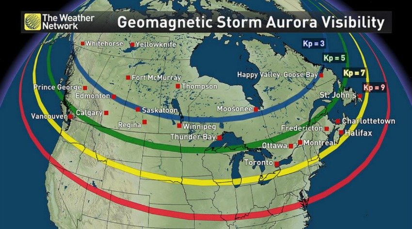 "<who> The Weather Network </who> A map of the potential aurora visibility for different geomagnetic storm strengths. The Kp = 5 line denotes the extent of auroras during a G1 (minor) geomagnetic storm. Kp = 7 is for a G3 (strong) storm. Kp = 9 is for a G5 (extreme) storm. Even-valued Kp indices, and thus geomagnetic storm strengths, generally fall between the lines on the map. (Anything less than Planetary K-index of 5 is considered ""substorm"" levels)."
