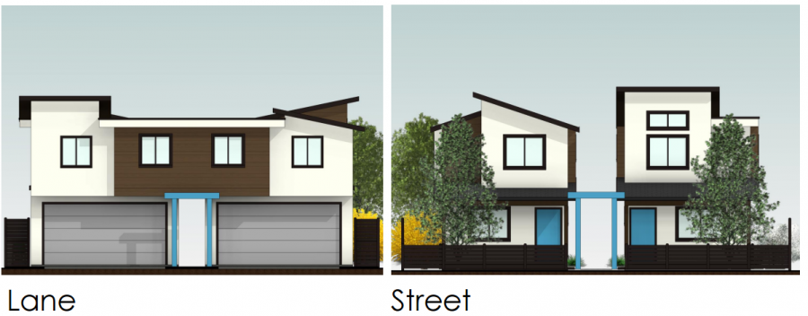 <who> Photo Credit: City of Kelowna/Infill Challenge </who> Concept design of the two homes on a single property facing the lane.