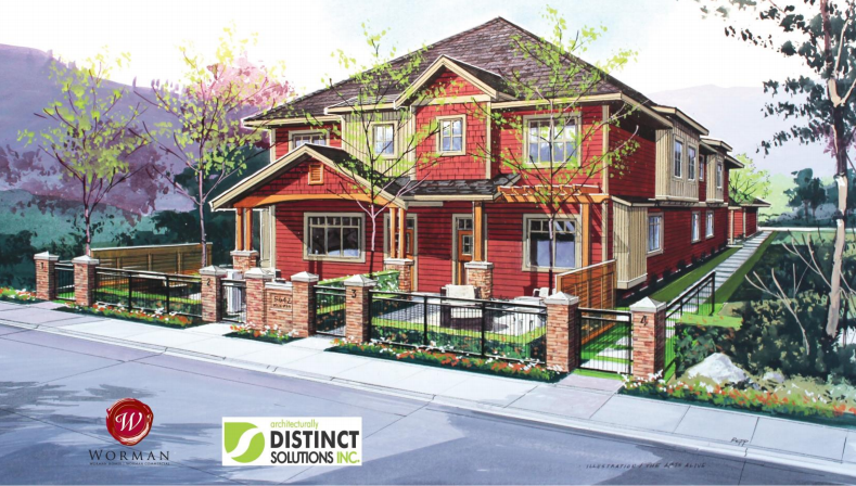 <who> Photo Credit: City of Kelowna/Infill Challenge </who> Concept design of the four homes on a single property.