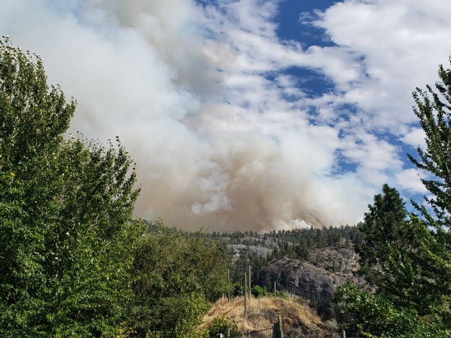 Evacuation orders and alerts caused by Christie Mountain wildfire