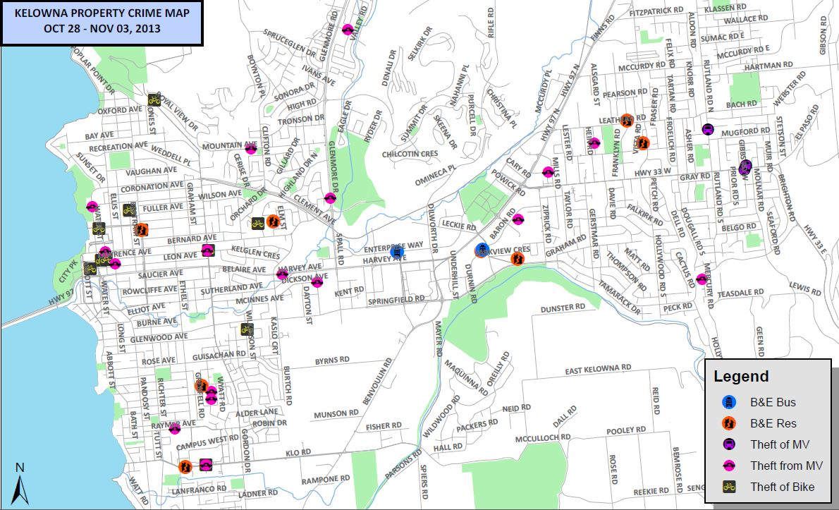 Kelowna Property Crime Mapped For Visual Effect