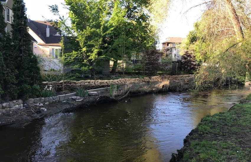<who>Photo Credit: KelownaNow</who> Mill Creek at the Buckland Avenue on May 13, 2018.