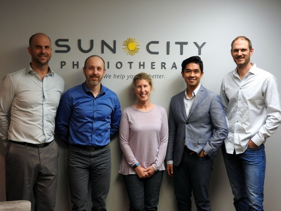 <who>Photo Credit: Contributed</who>Sun City Physiotherapy</who>Graham Gillies, Jay Stone, Robina Palmer, Vince Cunanan, Kevin Bos