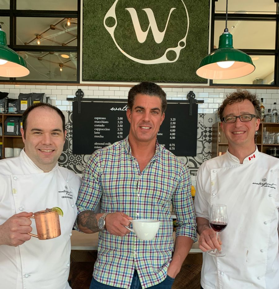 <who>Photo Credit: Contributed</who>Waterfront Cafe (L to R) Chef Graham Momer, Lonni Van Diest and Mark Filatow