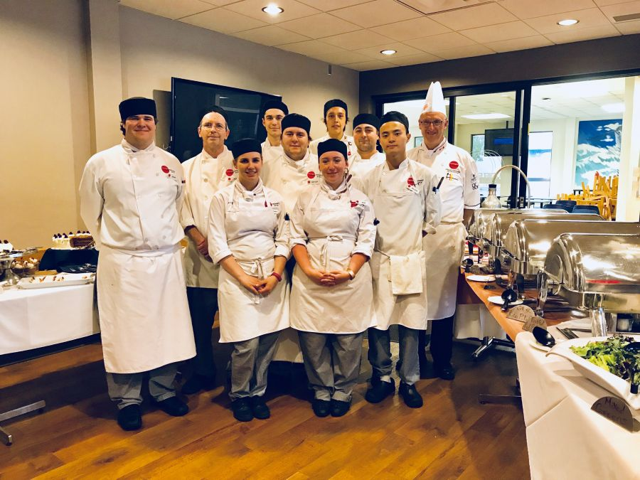 <who>Photo Credit: Contributed</who>Chef/Instructor Reinhard Foerderer and Culinary Arts Students at Infusions Restaurant - Okanagan College