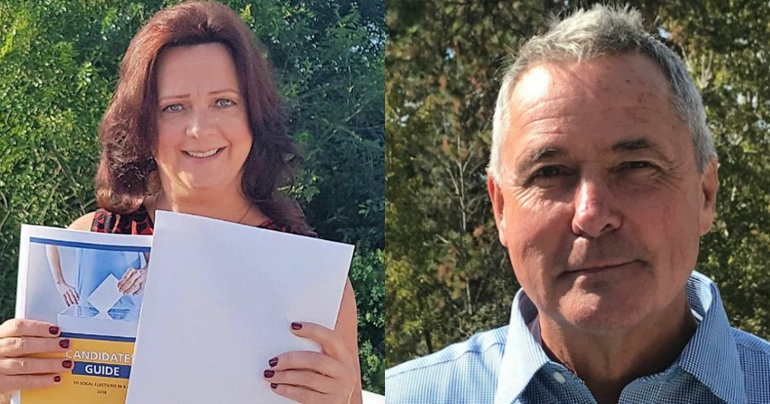 <who> Photo Credit: Contributed. </who> Peachland's incumbent Mayor Cindy Fortin (left) and challenger Harry Gough finished in tie with 803 votes each.