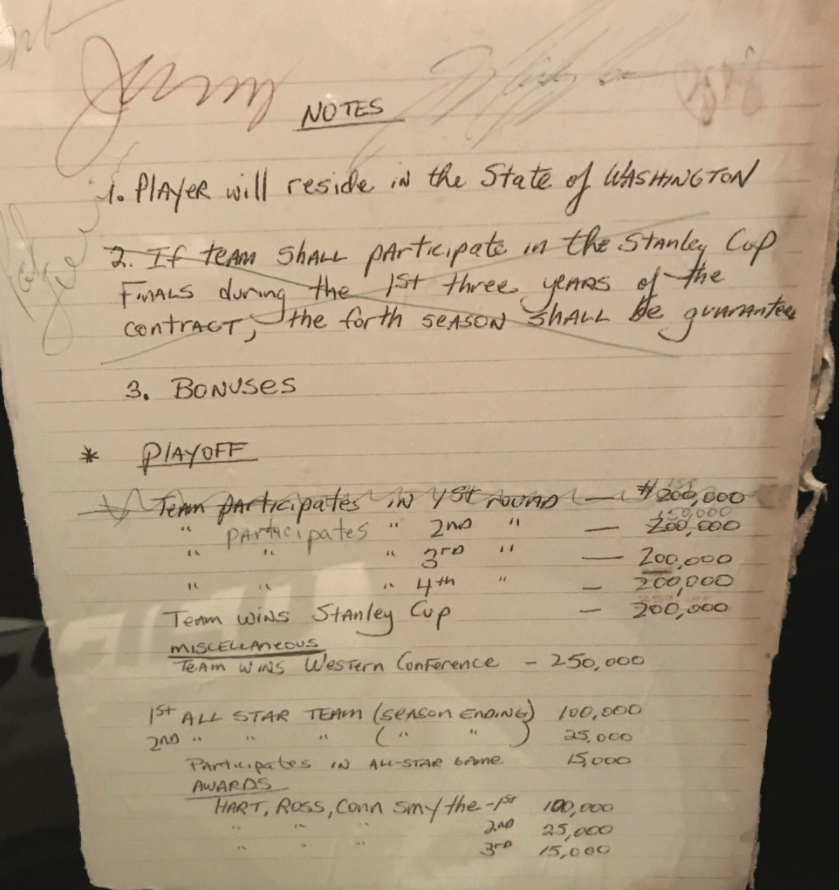 PHOTOS: Mark Messier's Handwritten Contract With The