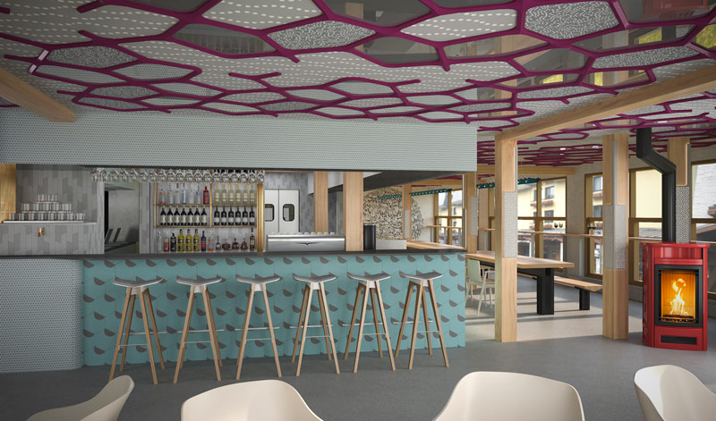 <who>Photo Credit: Pangea Pod Hotel</who>Artist's rendering of the hotel café and bar
