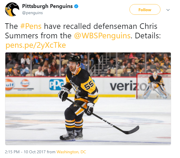 </who> This was the only post on the Penguins social media accounts today.
