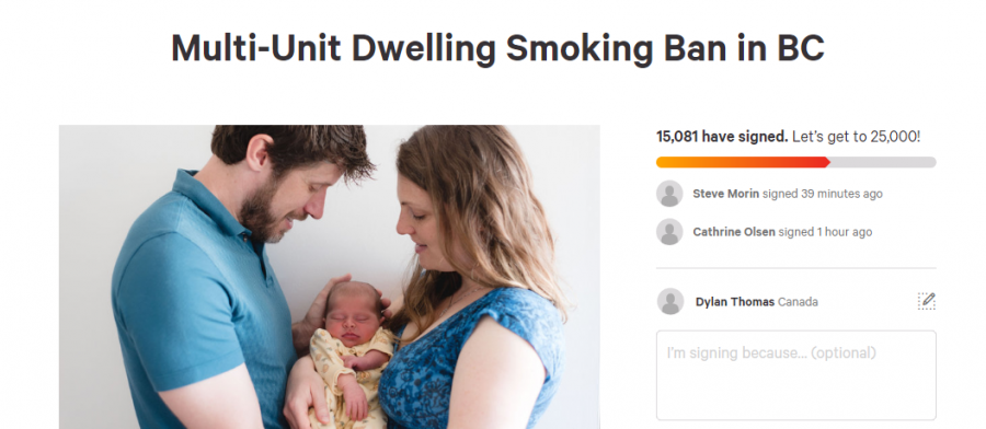 BC mother petitioning to ban smoking in conjoined housing