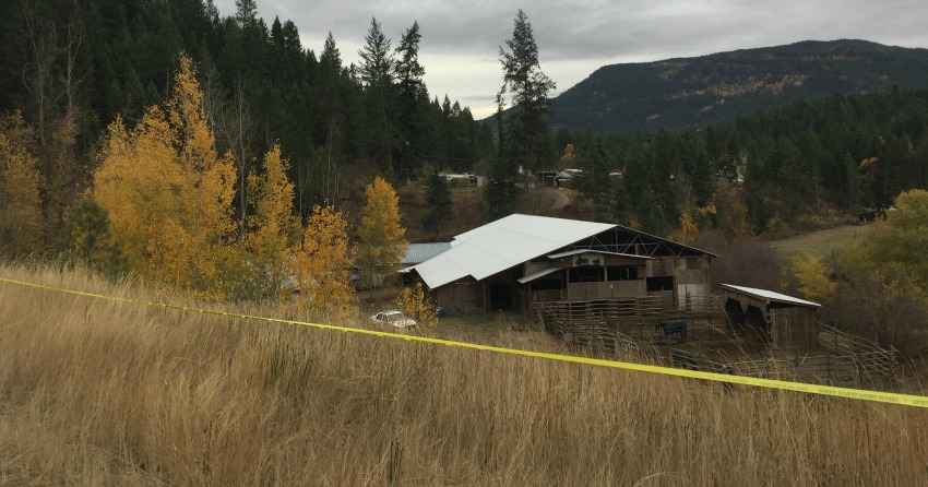 <who> Photo Credit: NowMedia </who> The rural Salmon Arm property where human remains were found.