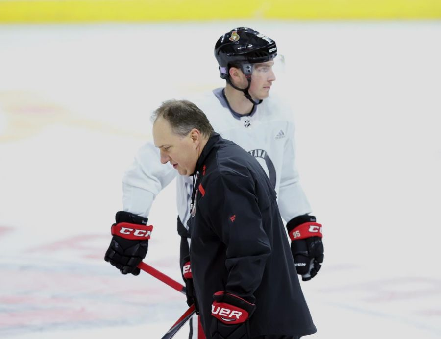 <who>Photo Credit: Canadian Press</who>Coach Martin Raymond and forward Matt Duchene at practice.