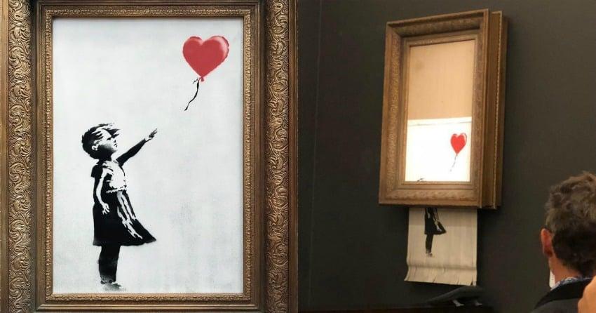 Banksy portrait shreds itself inside frame after selling for £1m at Sotheby's