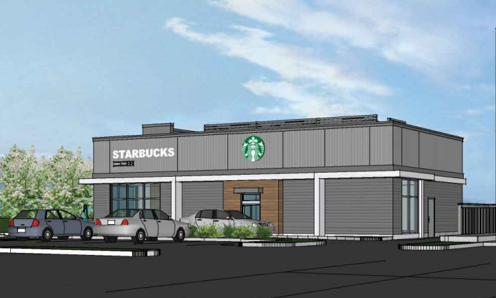 Drive-thru Starbucks with patio proposed along Highway 97