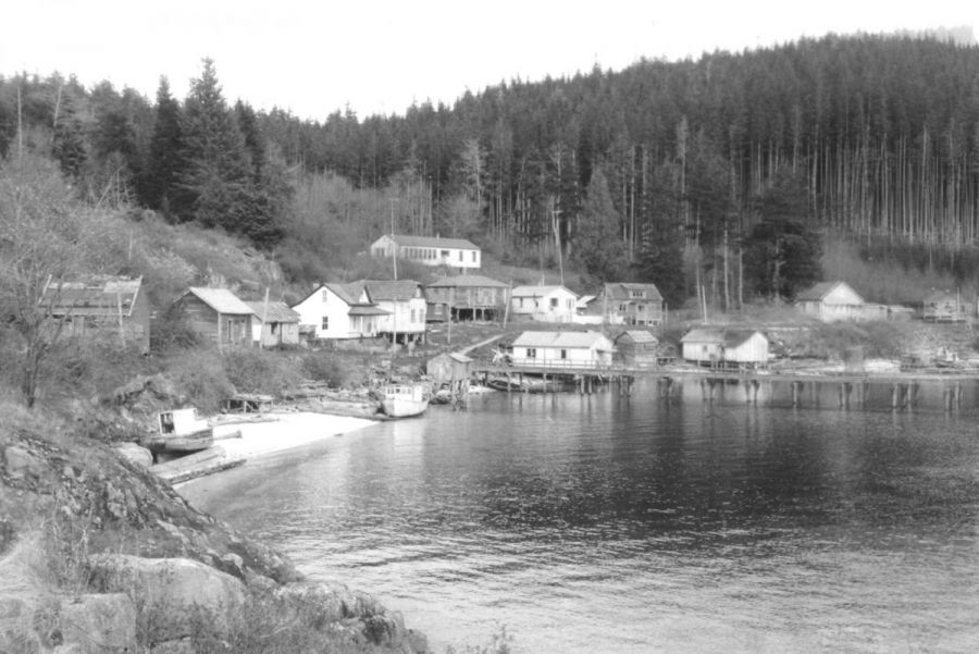 <who>Photo Credit: Tlowitsis First Nation</who>The nations village of Kalagwees in the 1960s.