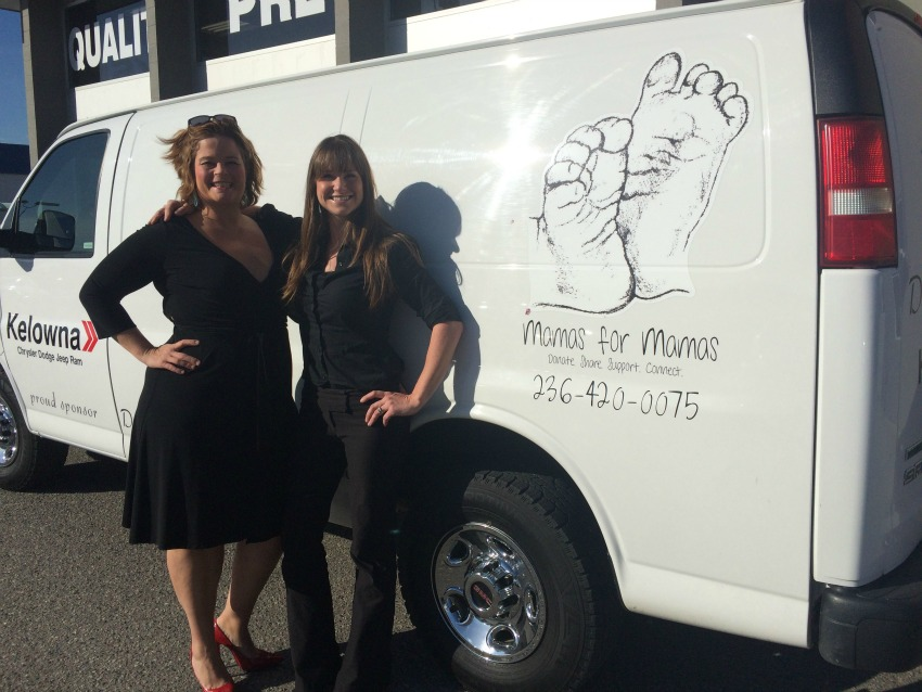 <who> Photo Credit: Mamas for Mamas </who> Cydney McDonald and Shannon Christensen stand with the new Mamas for Mamas van