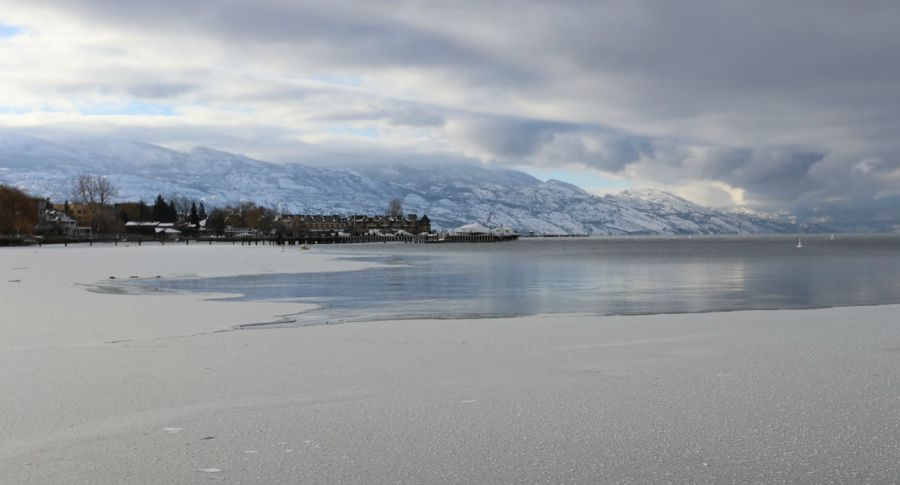 <who>Photo Credit: KelownaNow</who>Looking towards the Cook Road boat launch from Rotary Beach.