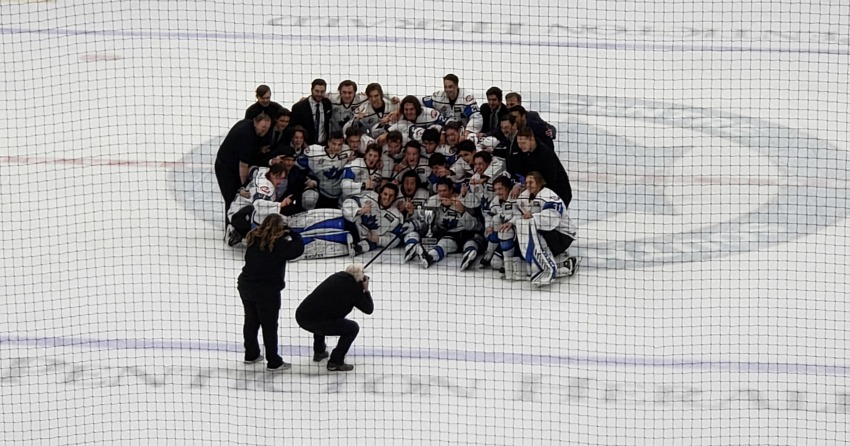 <who> Photo Credit: NowMedia </who> The Vees celebrate after winning the Okanagan Cup exhibition series Nov. 14.