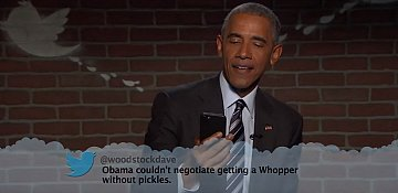 Obama reads mean tweets and claps back at one from Trump