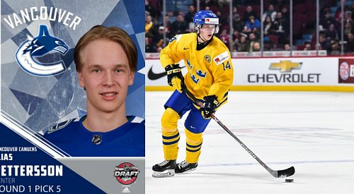 Canucks select Elias Pettersson with 5th pick in NHL Draft