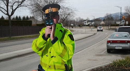 Mountie cardboard cutout used to slow traffic is back in Kelowna school zones