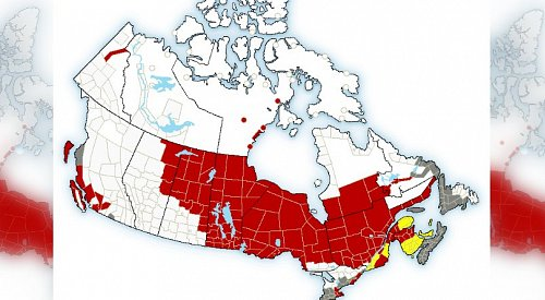 Weather warnings are lighting up Environment Canada's maps right now