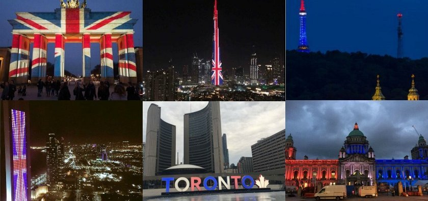 Cities around the world light up for Manchester
